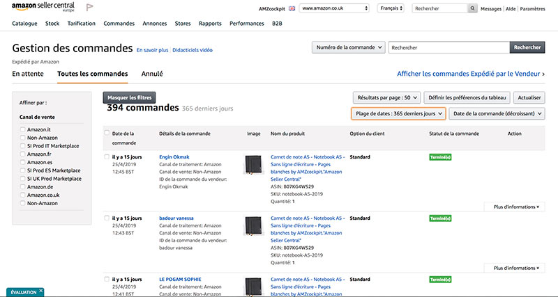 gestion commandes amazon seller europe